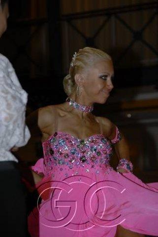 Танцевальный костюм: женское платье для бальных танцев латина (Фуксия) р...